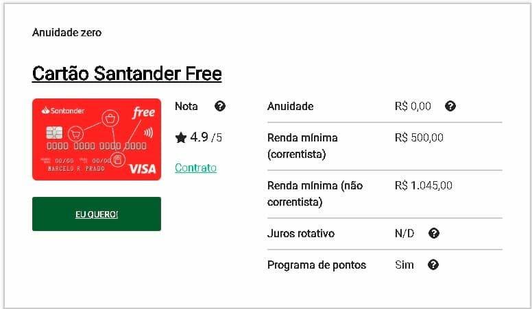 fatura Santander cartão de crédito